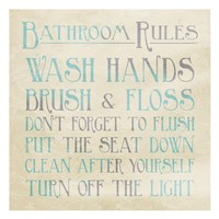 Bathroom Rules Teal Fine Art Print