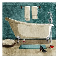 Teal Drink And Heals Bath Fine Art Print