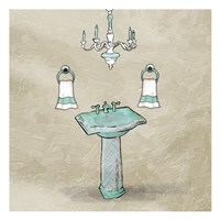 Teal Calm Sink Fine Art Print