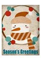 Seasons Greetings Snowman Fine Art Print