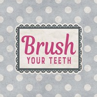 Brush Your Teeth Gray Pattern Framed Print