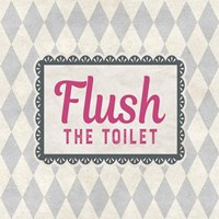 Flush The Toilet Gray Pattern Framed Print