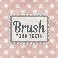 Brush Your Teeth Pink Pattern Fine Art Print
