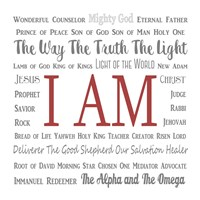 Names of Jesus Square Gray and Red Text Fine Art Print
