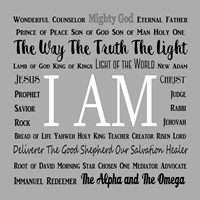 Names of Jesus Square Black and White Text Fine Art Print