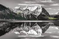 Kananaskis Lake Reflection BW with Color Fine Art Print
