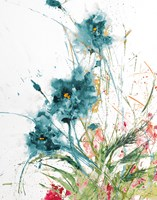 Flora Blue Crop on White Fine Art Print