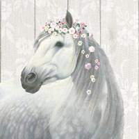 Spirit Stallion II on wood Square Fine Art Print
