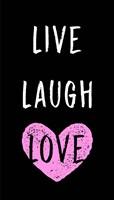 Live Laugh Love - Black with Pink Heart Fine Art Print