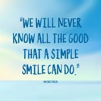 Simple Smile - Mother Teresa Quote (Blue) Fine Art Print