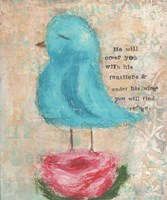 Blue Bird, Pink Flower Fine Art Print