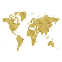 World Map Burnished Gold Fine Art Print