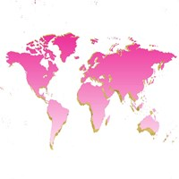 World Map Pink & Gold Fine Art Print