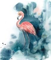 Pink and Blue Flamingo Fine Art Print