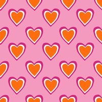 Pink and Orange Hearts Fine Art Print