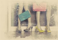 Vintage Fashion Pop of Color Heels and Handbags Fine Art Print