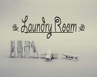 Laundry Room Sign Clothespins Black and White Fine Art Print