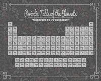 Periodic Table Gray and Red Leaf Pattern Dark Fine Art Print
