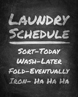 Laundry Schedule Chalkboard Fine Art Print