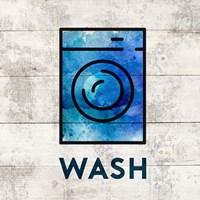 Laundry Sign White Wood Background - Wash Fine Art Print