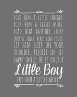 Hold Him A Little Longer - Gray Framed Print