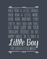 Hold Him A Little Longer - Blue Framed Print