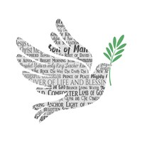 Names of Jesus Dove Silhouette White Fine Art Print