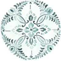Aqua Medallions IV Framed Print