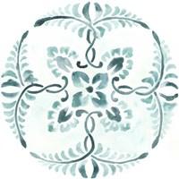 Aqua Medallions VI Framed Print