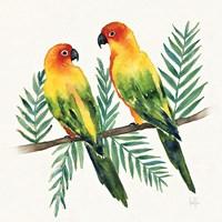 Tropical Fun Bird III Leaves Fine Art Print