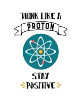 Think Like A Proton White Framed Print