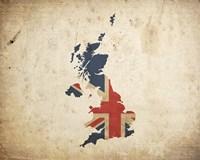 Map with Flag Overlay United Kingdom Fine Art Print
