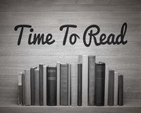 Time To Read - Wood Background Black and White Framed Print