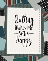 Quilting Makes Me Sew Happy Green Framed Print