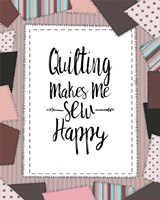 Quilting Makes Me Sew Happy Pink Fine Art Print