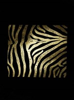 Gold Foil Zebra Pattern on Black Fine Art Print