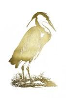 Gold Foil Heron I Fine Art Print