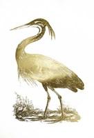 Gold Foil Heron II Fine Art Print