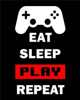 Eat Sleep Game Repeat  - Black and Red Fine Art Print