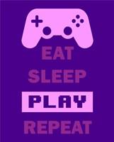 Eat Sleep Game Repeat  - Purple Fine Art Print