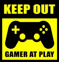 Keep Out Gamers At Play Framed Print