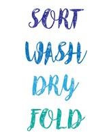 Sort Wash Dry Fold  - White and Blue Fine Art Print