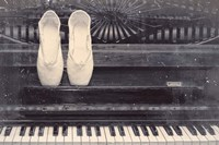 Ballet Shoes And Piano Old Photo Style Dust and Scratches Framed Print