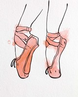 Ballet Shoes En Pointe Orange Watercolor Part I Fine Art Print