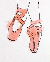 Ballet Shoes En Pointe Orange Watercolor Part II Fine Art Print