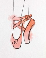 Ballet Shoes En Pointe Orange Watercolor Part III Fine Art Print