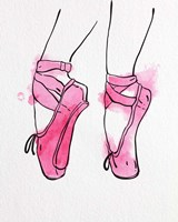 Ballet Shoes En Pointe Pink Watercolor Part I Fine Art Print