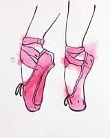 Ballet Shoes En Pointe Pink Watercolor Part I Framed Print