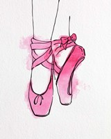 Ballet Shoes En Pointe Pink Watercolor Part III Fine Art Print