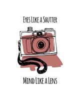 Eyes Like A Shutter Mind Like A Lens Camera Doodle Red Fine Art Print